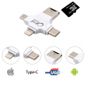 Переходник Card Reader 4 в 1 (micro, IPhone, Type-C) IUSB TF